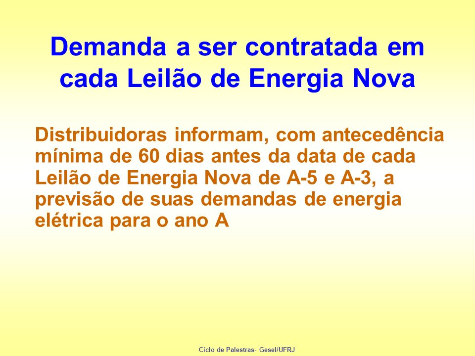 Demanda a ser contratada em cada Leilão de Energia Nova