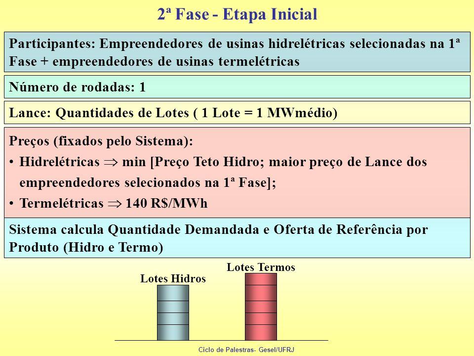 2ª Fase - Etapa Inicial Participantes: Empreendedores de usinas hidrelétricas selecionadas na 1ª Fase + empreendedores de usinas termelétricas.