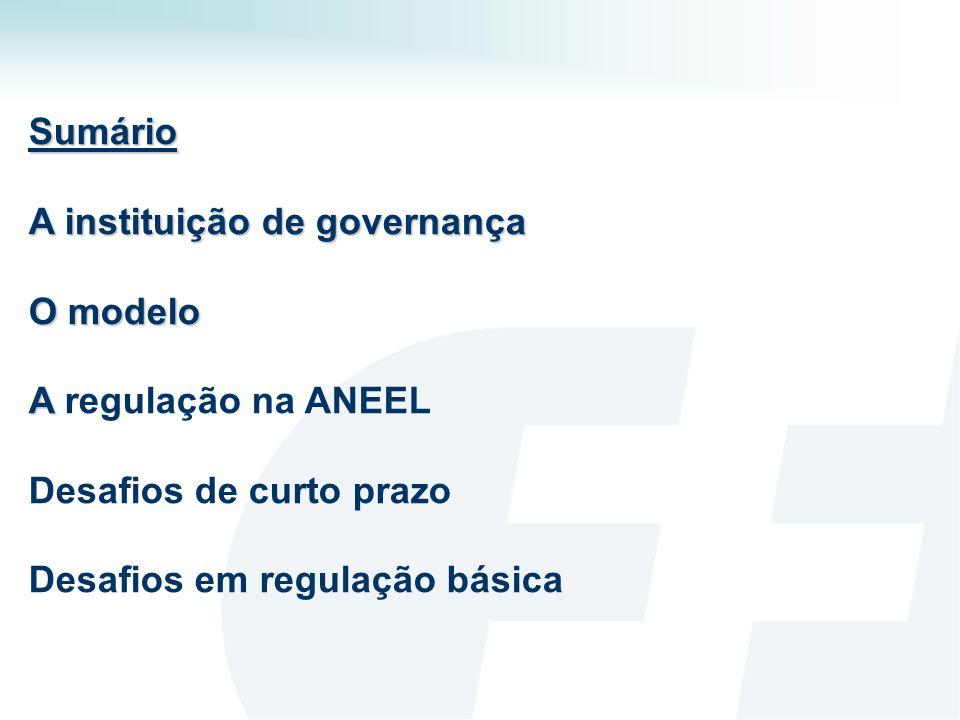 Sumário A instituição de governança O modelo A regulação na ANEEL Desafios de curto prazo Desafios em regulação básica