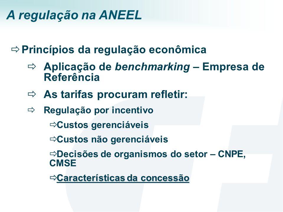 A regulação na ANEEL Princípios da regulação econômica