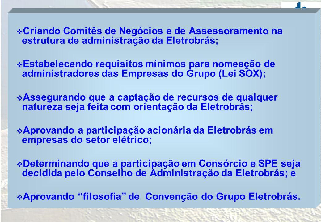 Criando Comitês de Negócios e de Assessoramento na estrutura de administração da Eletrobrás;