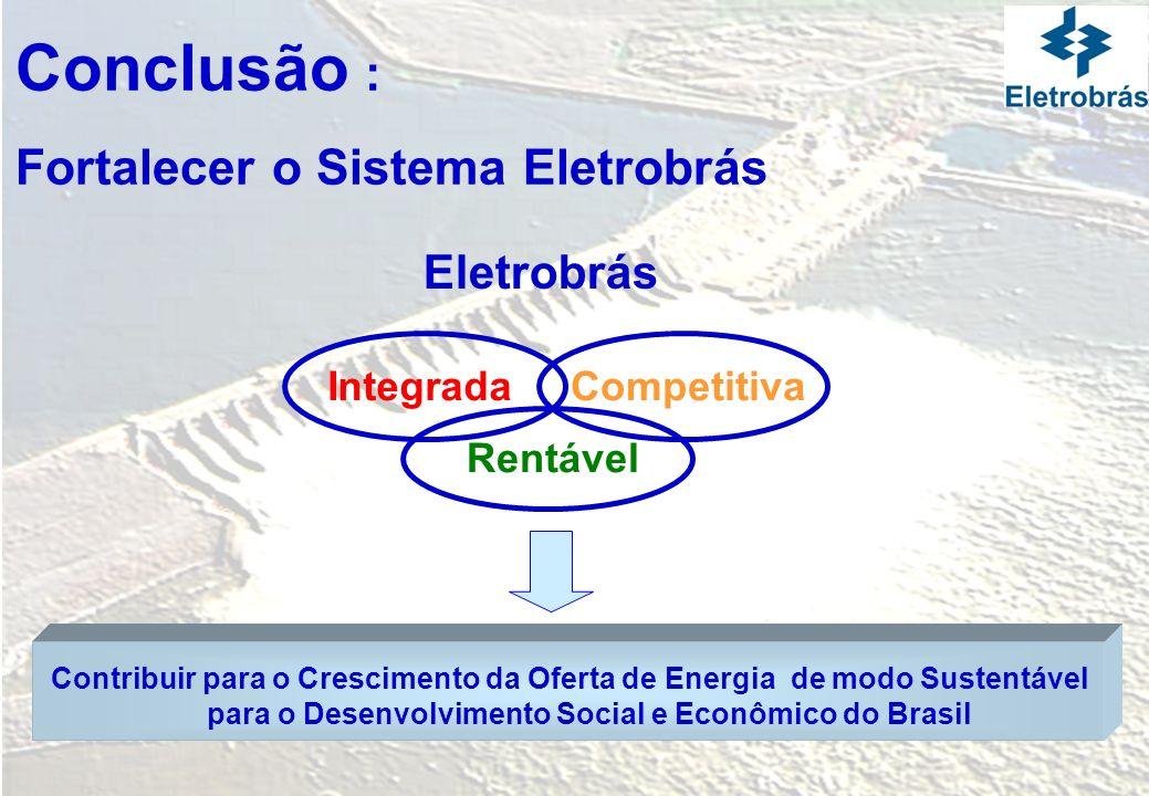Conclusão : Fortalecer o Sistema Eletrobrás Eletrobrás Integrada