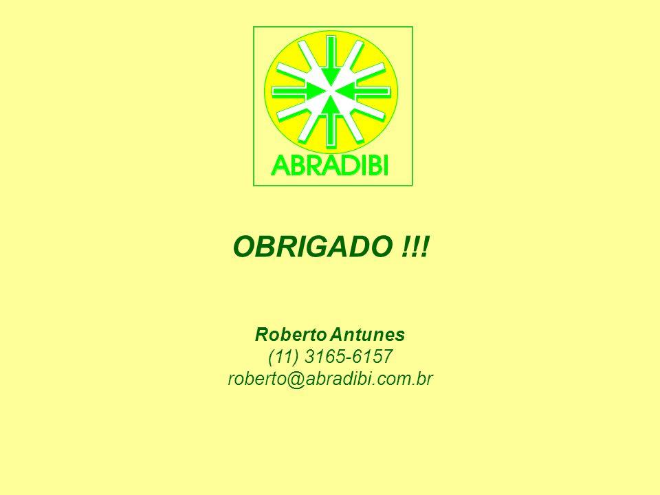 OBRIGADO !!! Roberto Antunes (11) 3165-6157 roberto@abradibi.com.br