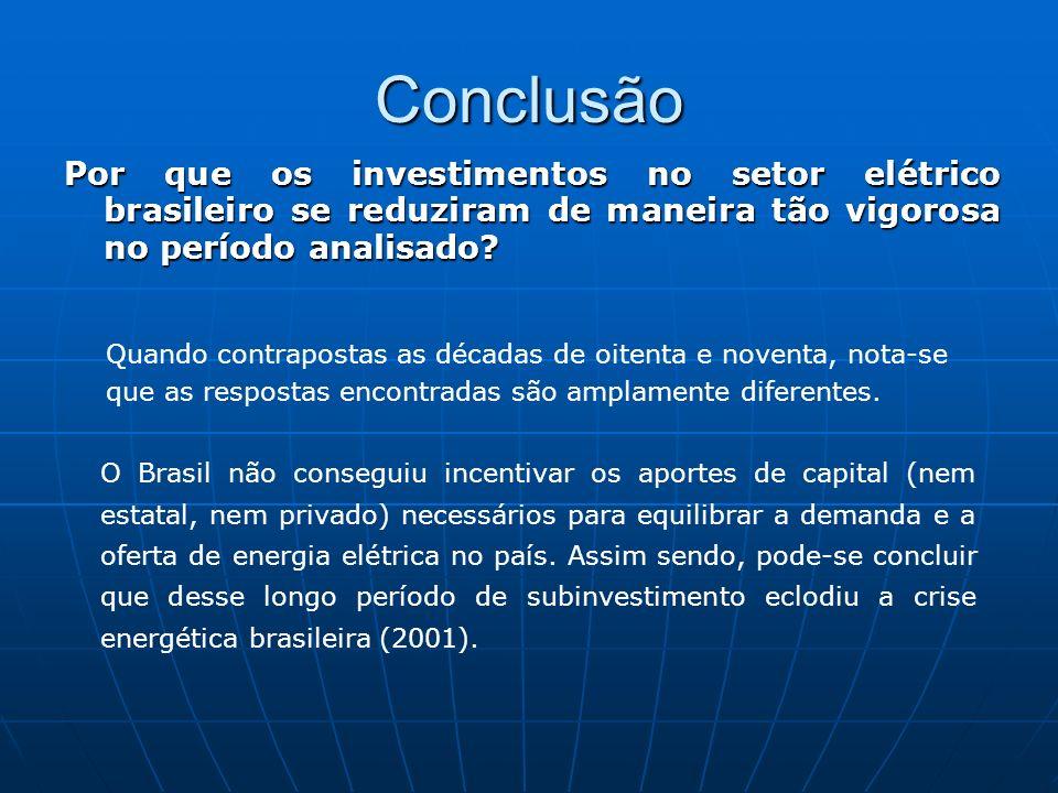 Conclusão Por que os investimentos no setor elétrico brasileiro se reduziram de maneira tão vigorosa no período analisado