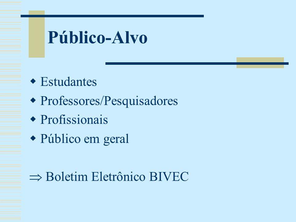 Público-Alvo Estudantes Professores/Pesquisadores Profissionais