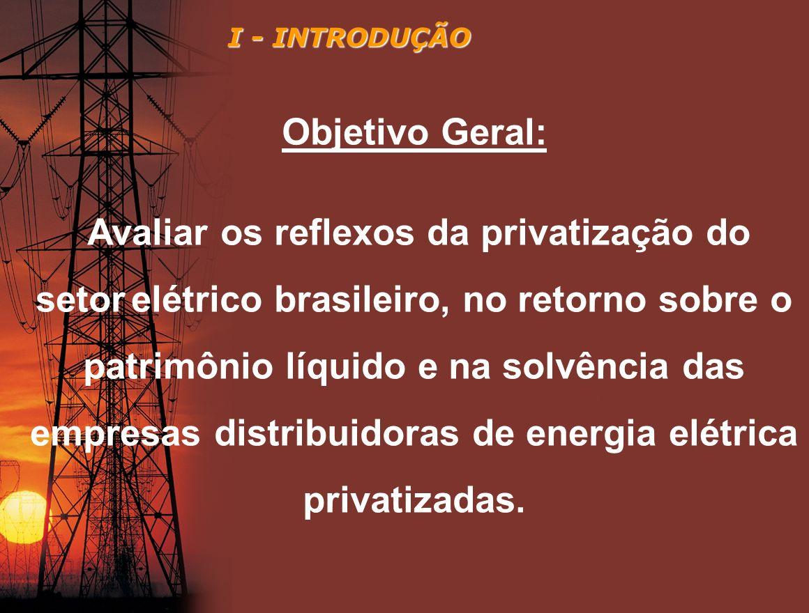 I - INTRODUÇÃO Objetivo Geral: