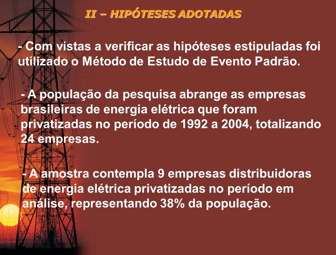 II – HIPÓTESES ADOTADAS