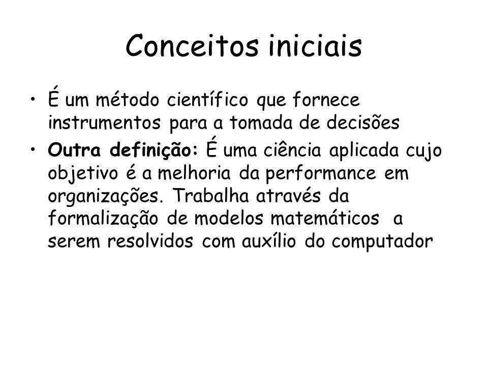 Conceitos iniciais É um método científico que fornece instrumentos para a tomada de decisões.