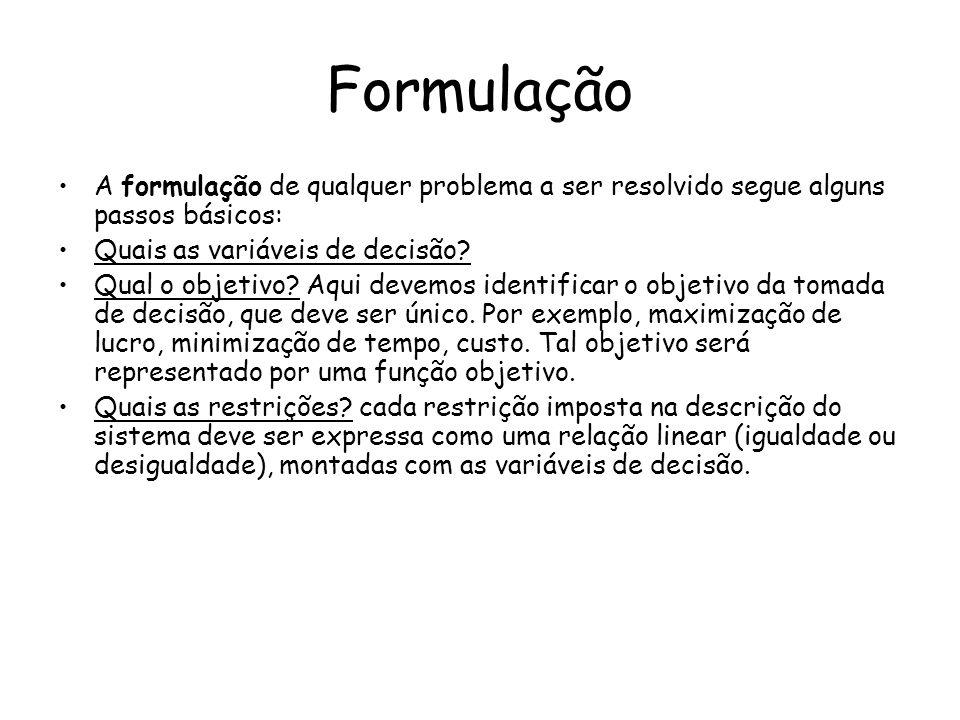 Formulação A formulação de qualquer problema a ser resolvido segue alguns passos básicos: Quais as variáveis de decisão