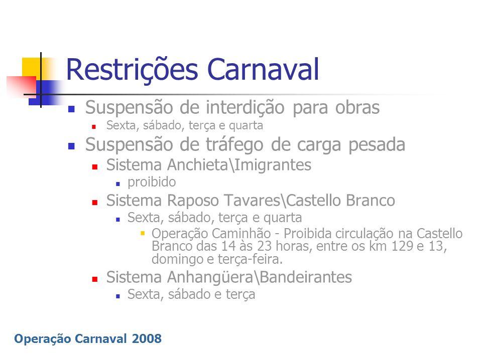 Restrições Carnaval Suspensão de interdição para obras