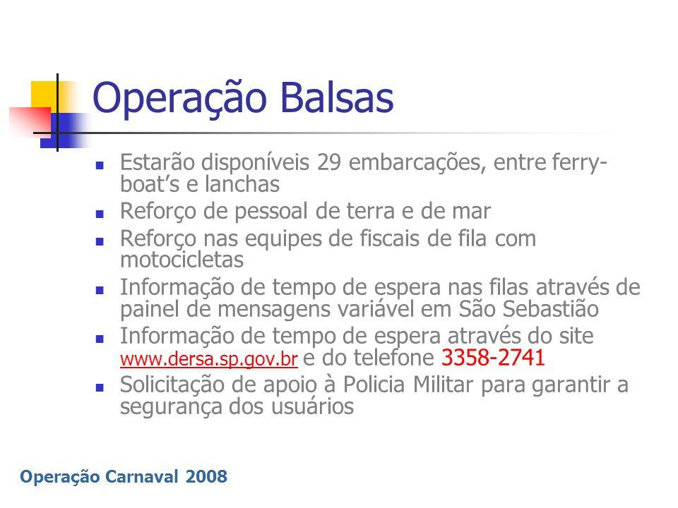 Operação BalsasEstarão disponíveis 29 embarcações, entre ferry-boat's e lanchas. Reforço de pessoal de terra e de mar.