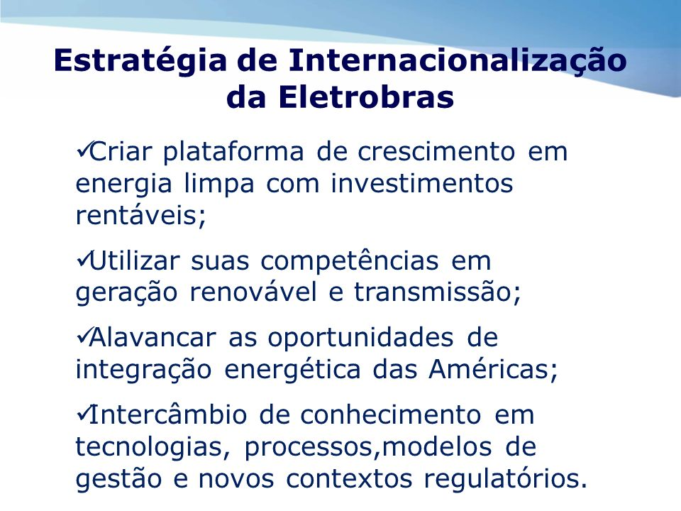 Estratégia de Internacionalização da Eletrobras
