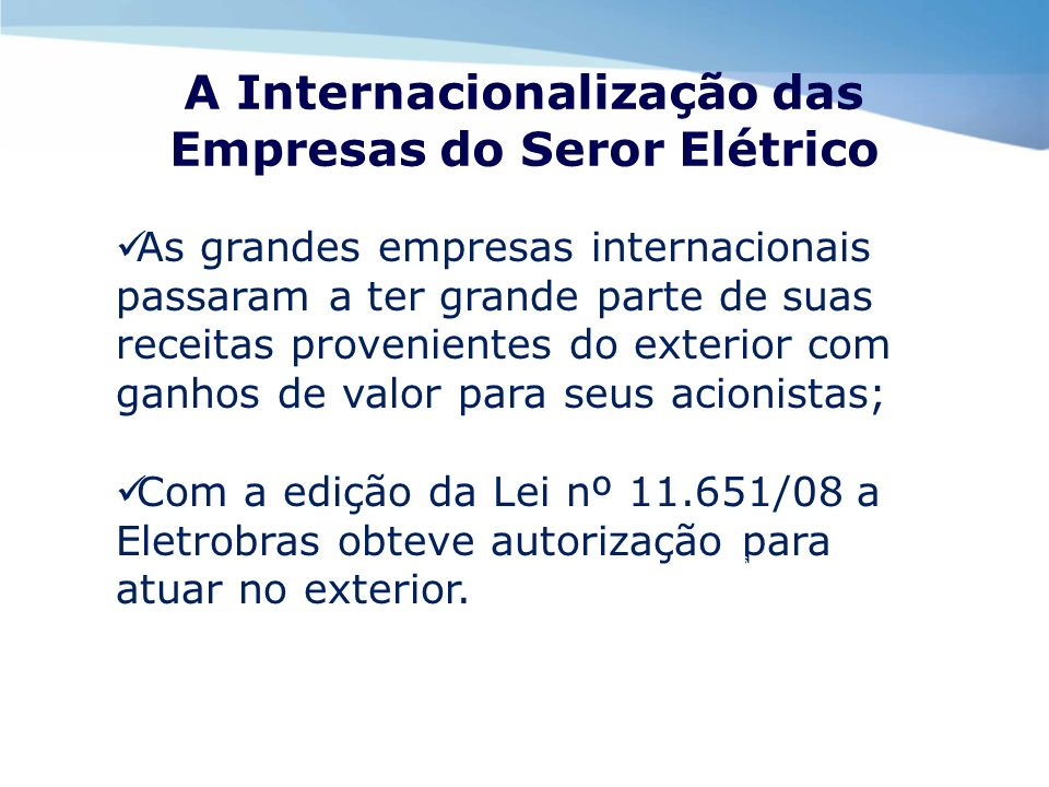 A Internacionalização das Empresas do Seror Elétrico