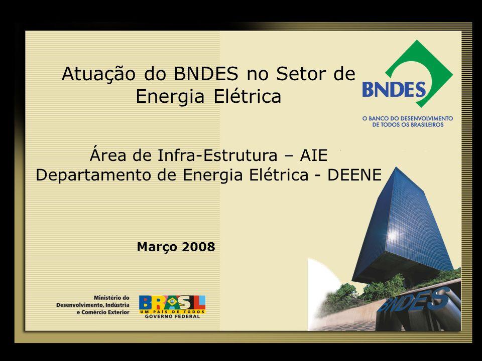 Atuação do BNDES no Setor de Energia Elétrica Área de Infra-Estrutura – AIE Departamento de Energia Elétrica - DEENE