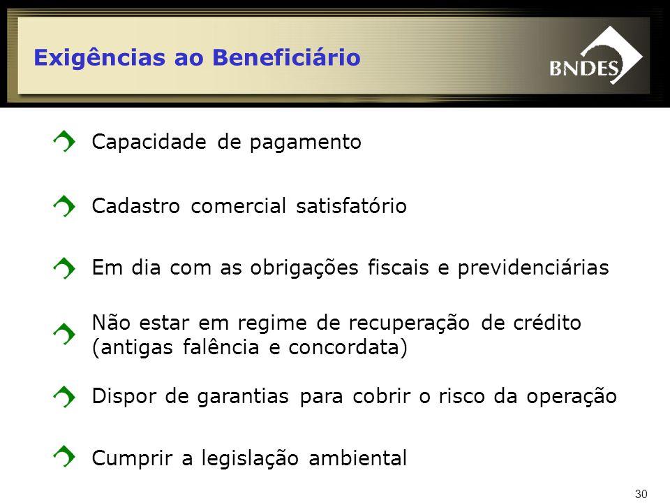 Exigências ao Beneficiário