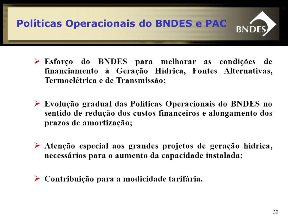 Políticas Operacionais do BNDES e PAC