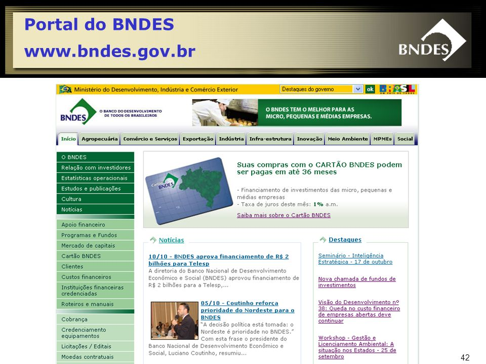 Portal do BNDES www.bndes.gov.br