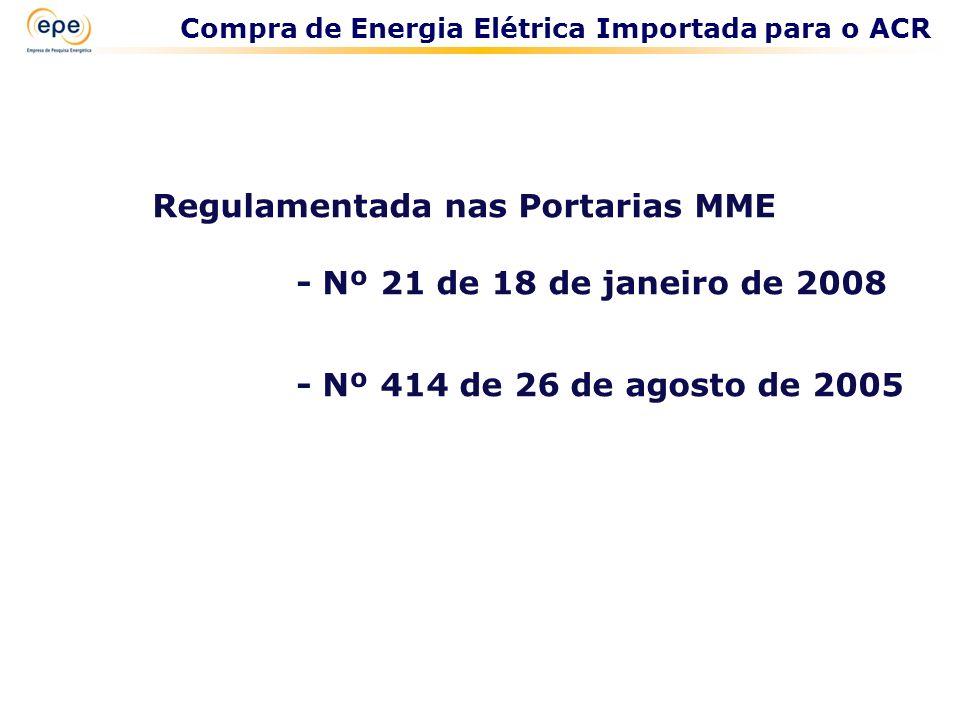 Regulamentada nas Portarias MME - Nº 21 de 18 de janeiro de 2008