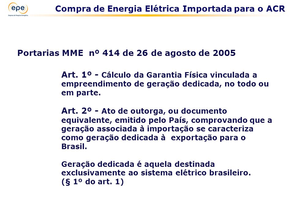 Compra de Energia Elétrica Importada para o ACR