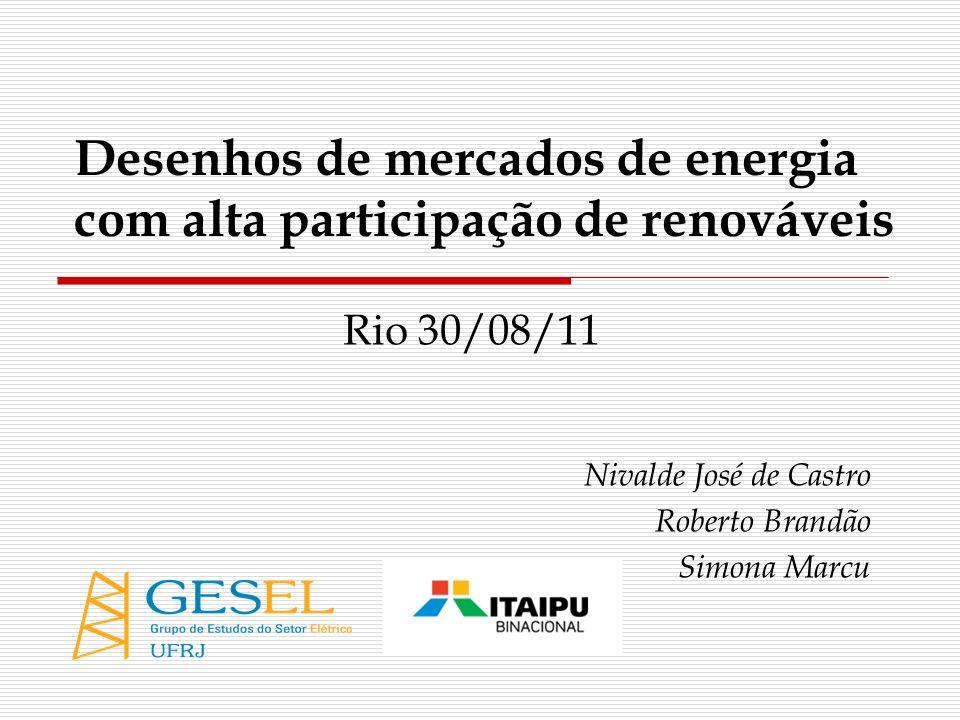 Desenhos de mercados de energia com alta participação de renováveis
