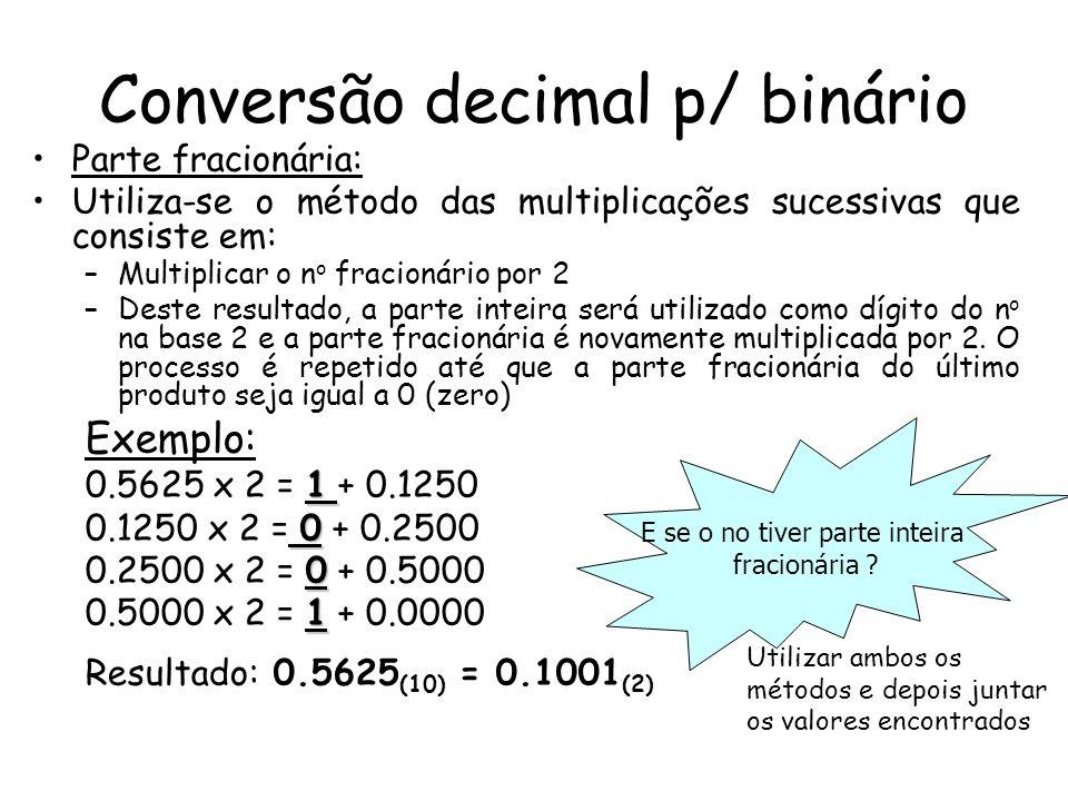Conversão decimal p/ binário