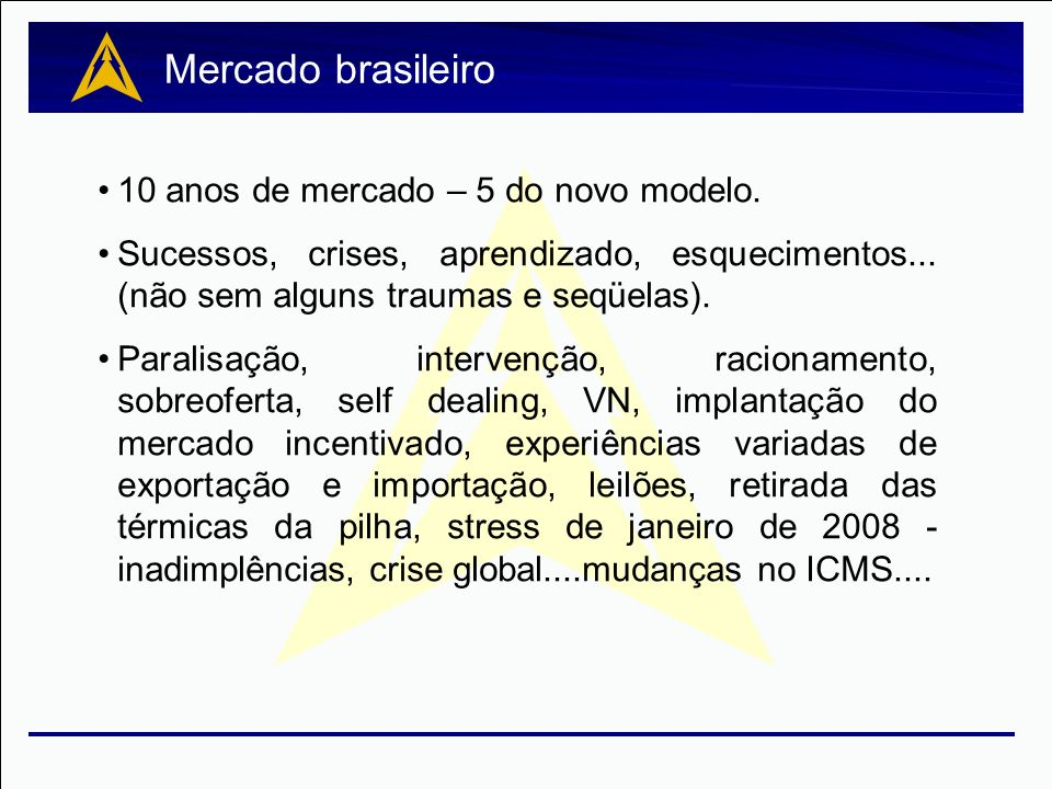 Mercado brasileiro 10 anos de mercado – 5 do novo modelo.
