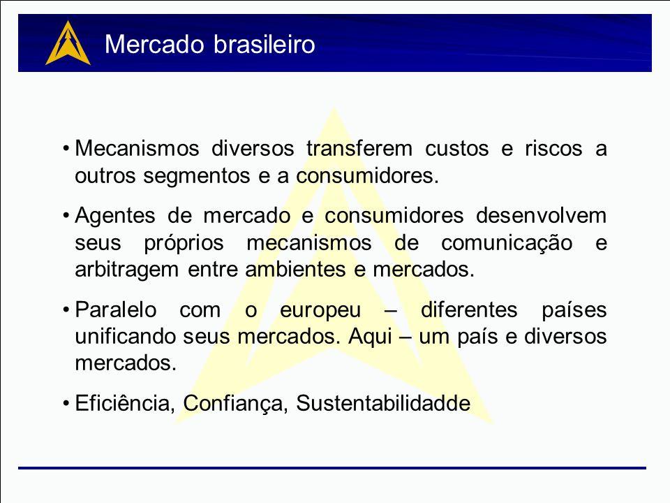 Mercado brasileiro Mecanismos diversos transferem custos e riscos a outros segmentos e a consumidores.