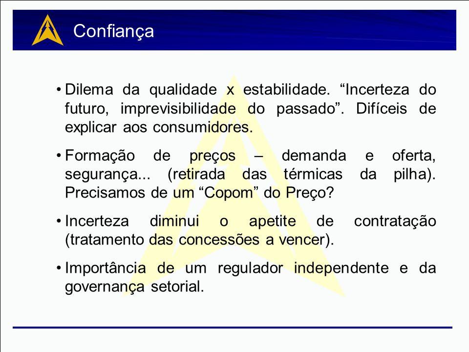 Confiança Dilema da qualidade x estabilidade. Incerteza do futuro, imprevisibilidade do passado . Difíceis de explicar aos consumidores.