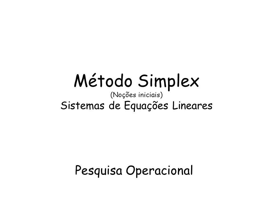 Método Simplex (Noções iniciais) Sistemas de Equações Lineares