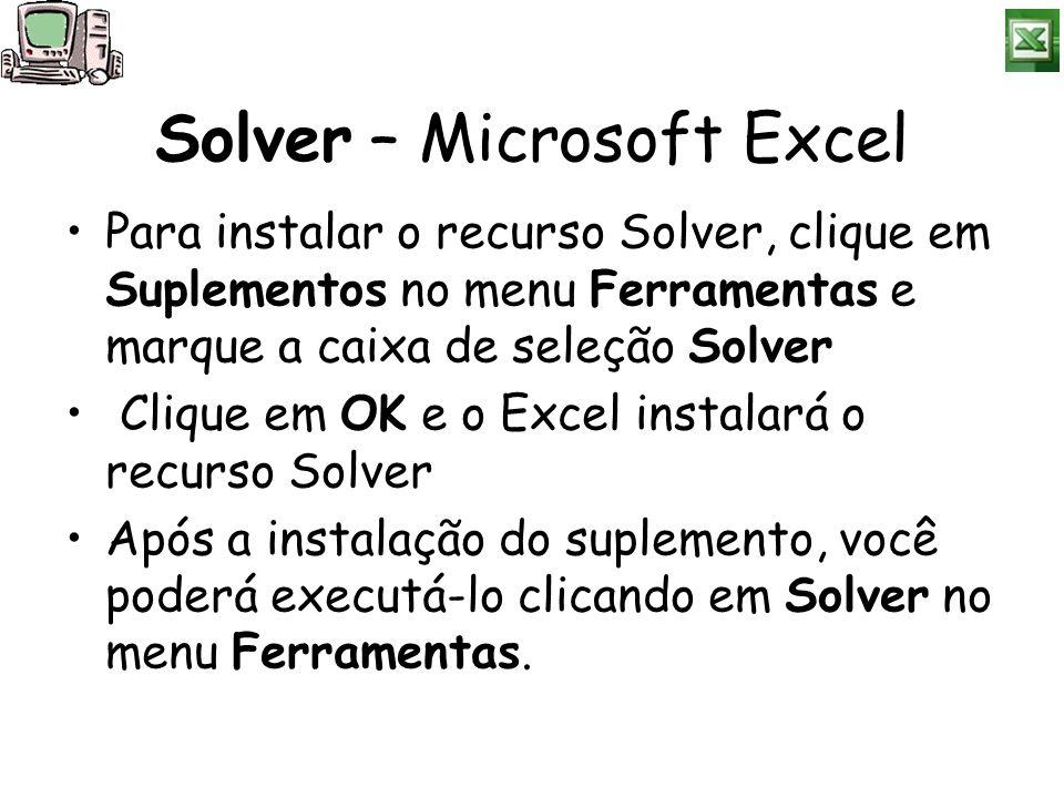 Solver – Microsoft Excel