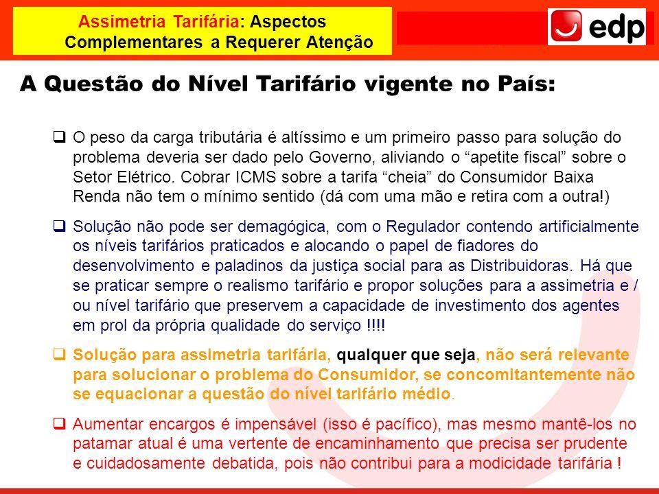 Assimetria Tarifária: Aspectos Complementares a Requerer Atenção