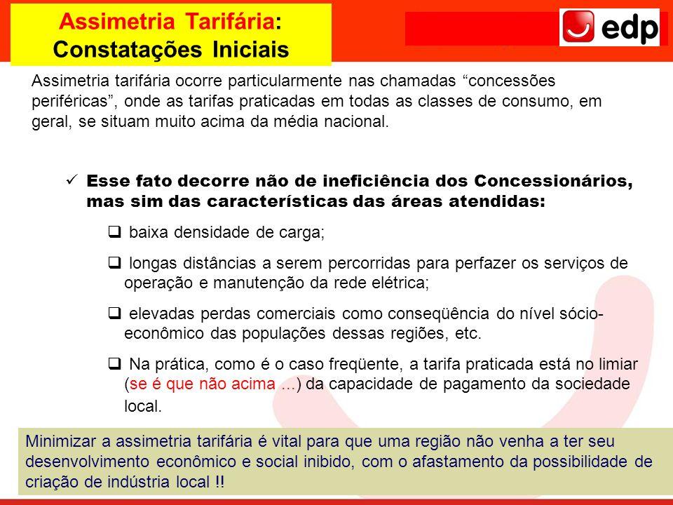 Assimetria Tarifária: Constatações Iniciais