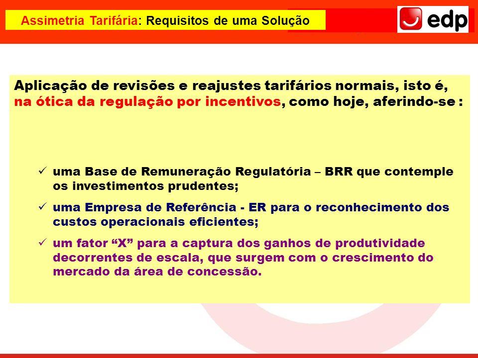Assimetria Tarifária: Requisitos de uma Solução