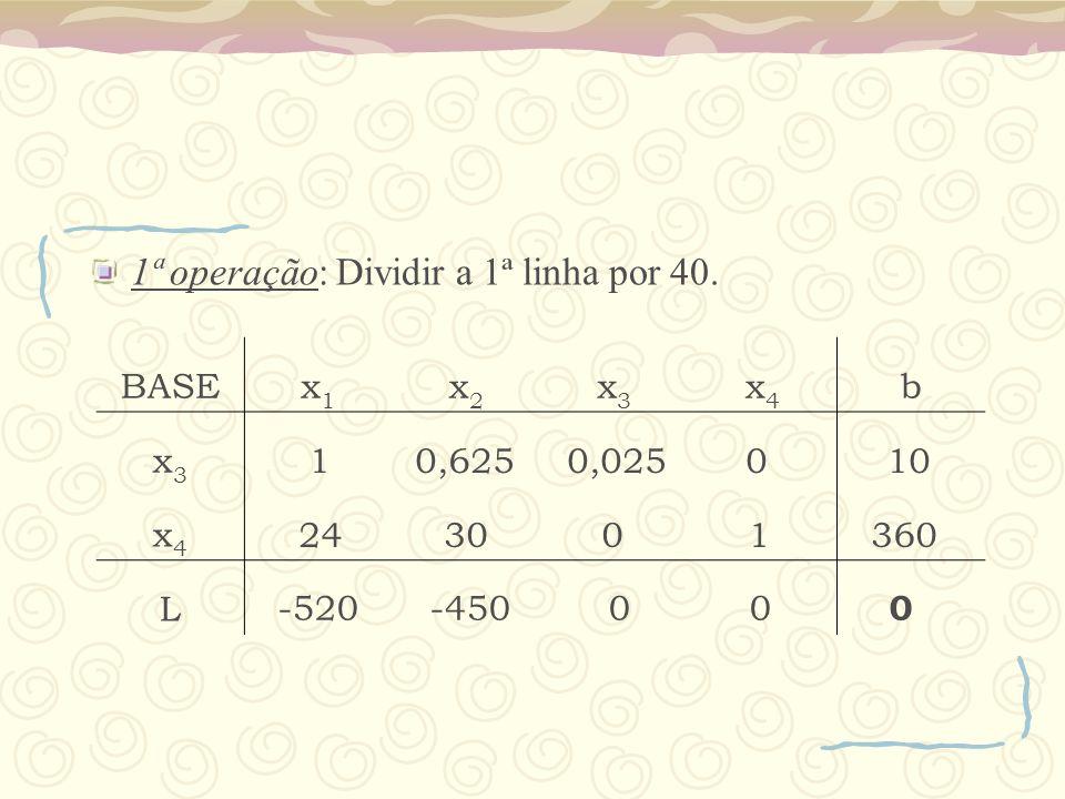 1ª operação: Dividir a 1ª linha por 40.