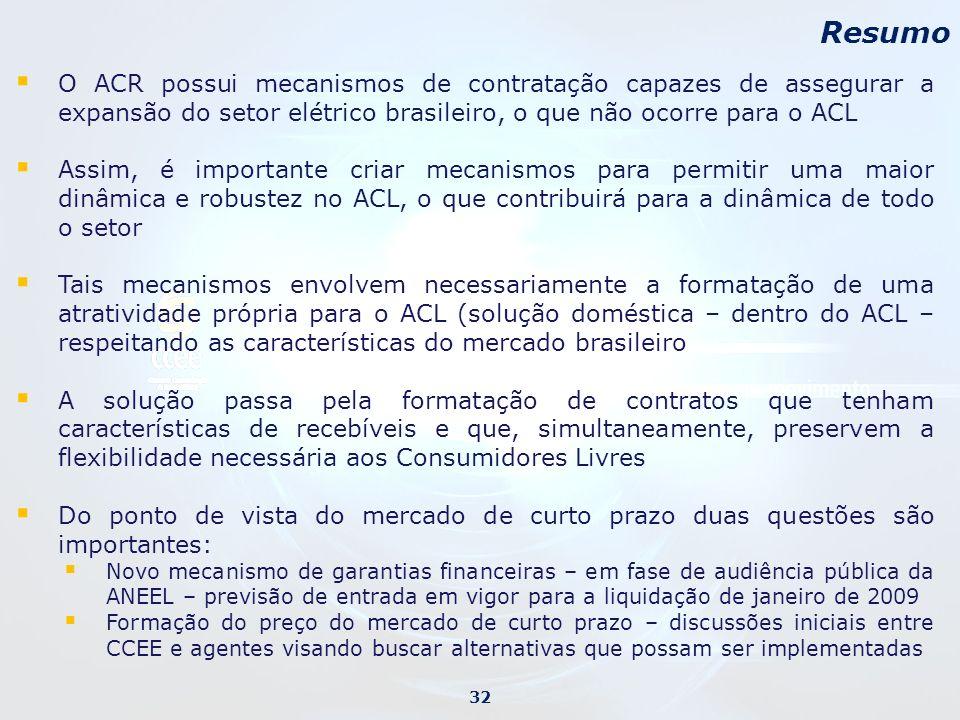 Resumo O ACR possui mecanismos de contratação capazes de assegurar a expansão do setor elétrico brasileiro, o que não ocorre para o ACL.