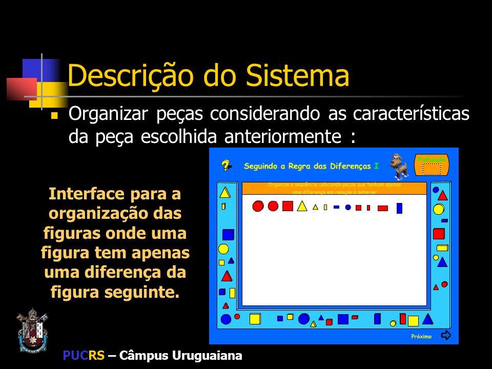 Descrição do Sistema Organizar peças considerando as características da peça escolhida anteriormente :