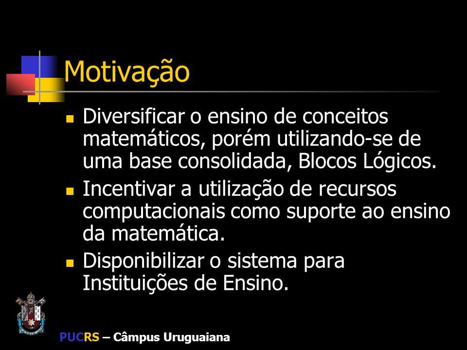 Motivação Diversificar o ensino de conceitos matemáticos, porém utilizando-se de uma base consolidada, Blocos Lógicos.
