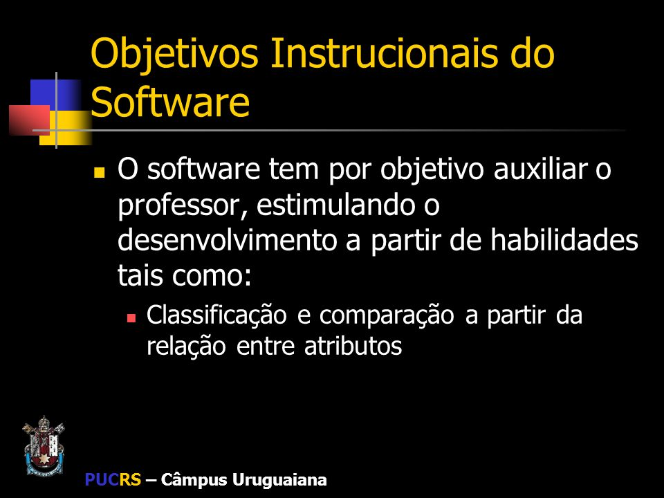 Objetivos Instrucionais do Software