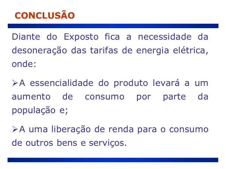 CONCLUSÃO Diante do Exposto fica a necessidade da desoneração das tarifas de energia elétrica, onde: