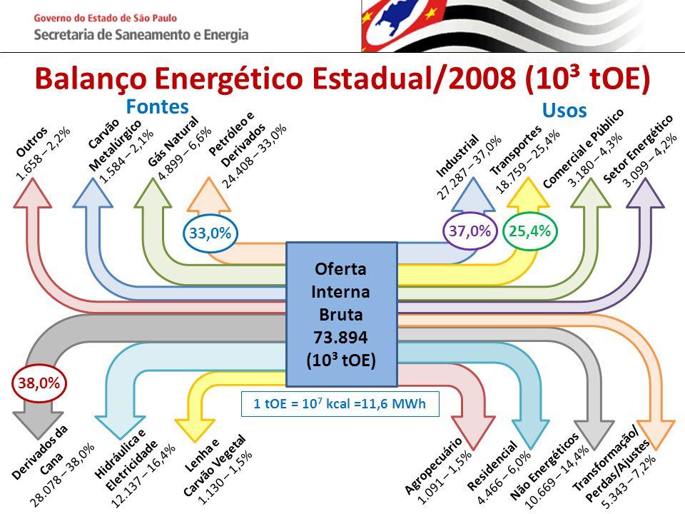 Balanço Energético Estadual/2008 (10³ tOE)