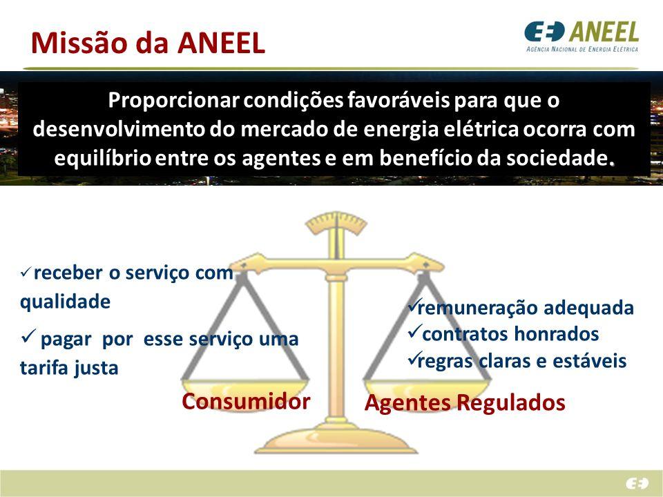 Missão da ANEEL Consumidor Agentes Regulados