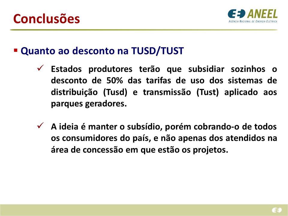 Conclusões Quanto ao desconto na TUSD/TUST