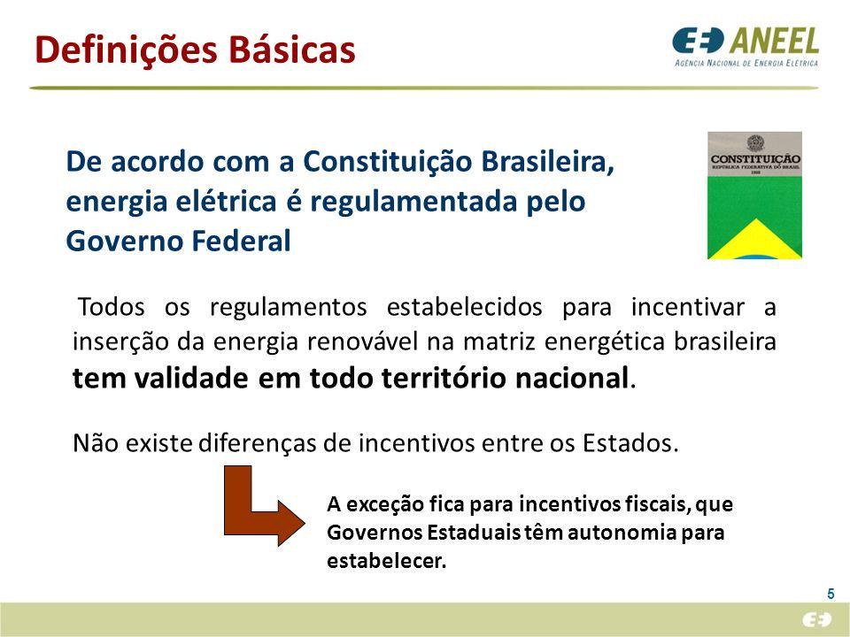 Definições Básicas De acordo com a Constituição Brasileira, energia elétrica é regulamentada pelo Governo Federal.