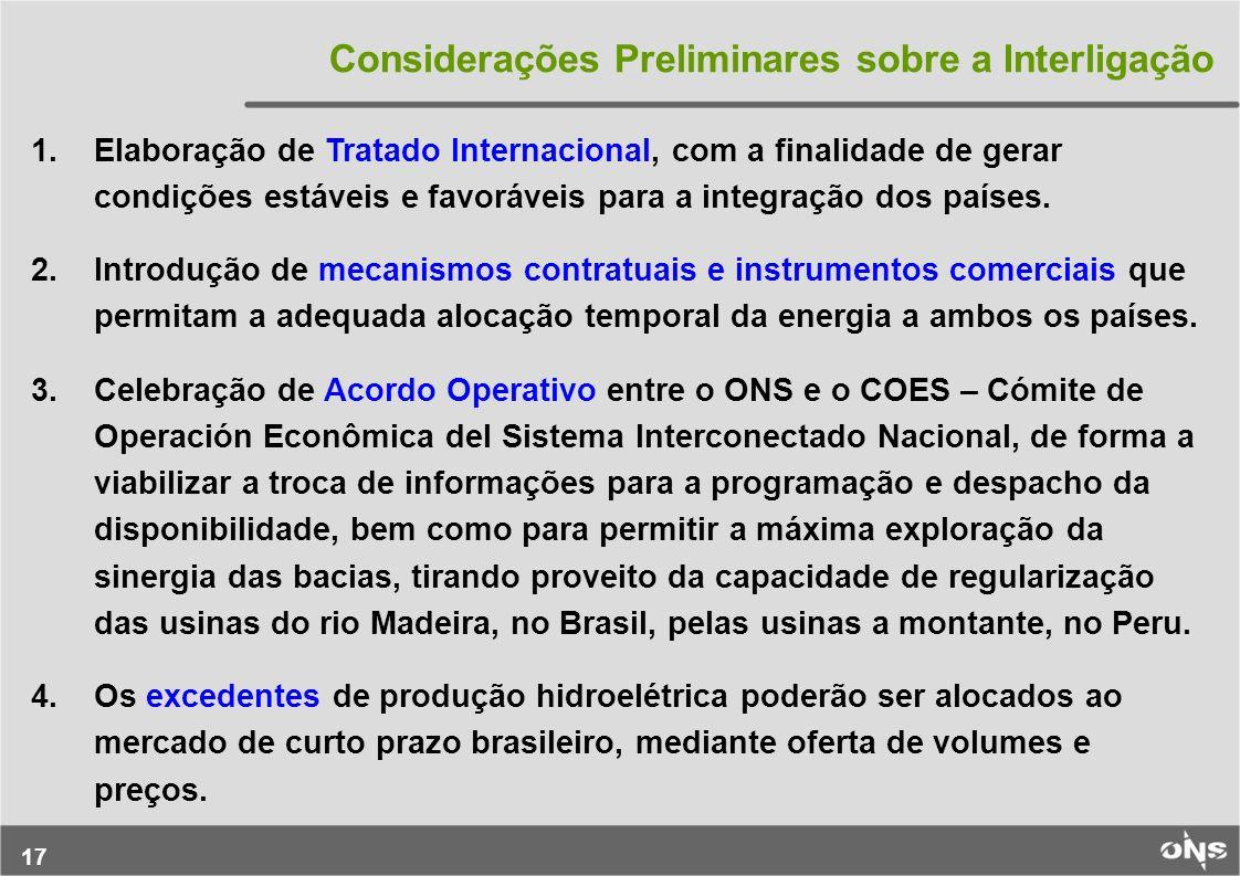 Considerações Preliminares sobre a Interligação