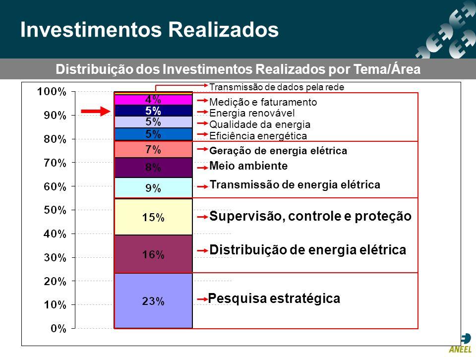 Distribuição dos Investimentos Realizados por Tema/Área