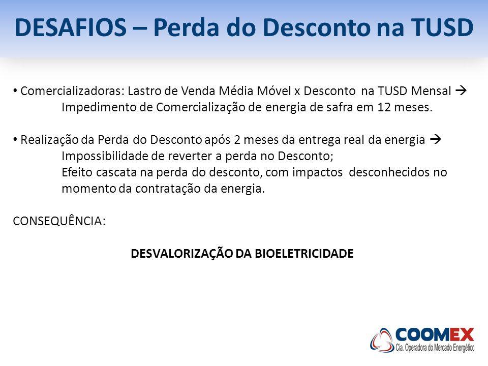 DESAFIOS – Perda do Desconto na TUSD DESVALORIZAÇÃO DA BIOELETRICIDADE