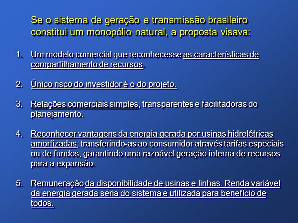 Se o sistema de geração e transmissão brasileiro constitui um monopólio natural, a proposta visava: