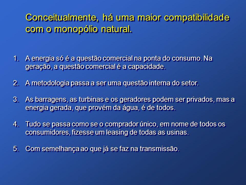 Conceitualmente, há uma maior compatibilidade com o monopólio natural.