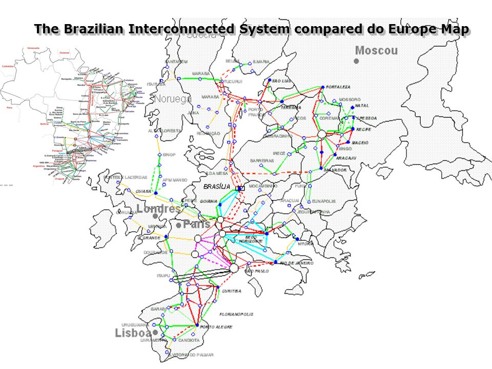 The Brazilian Interconnected System compared do Europe Map