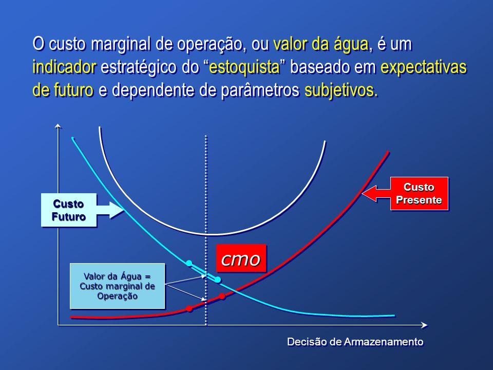 O custo marginal de operação, ou valor da água, é um indicador estratégico do estoquista baseado em expectativas de futuro e dependente de parâmetros subjetivos.